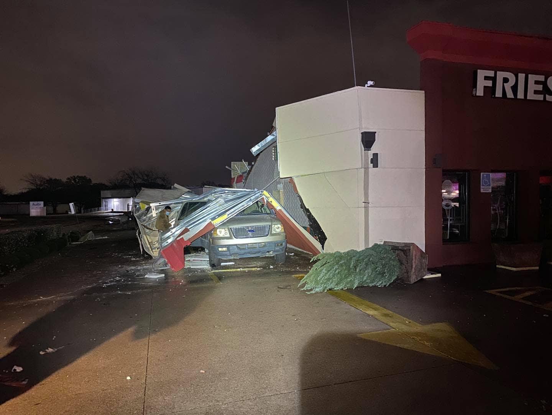 tornado damage in Arlington