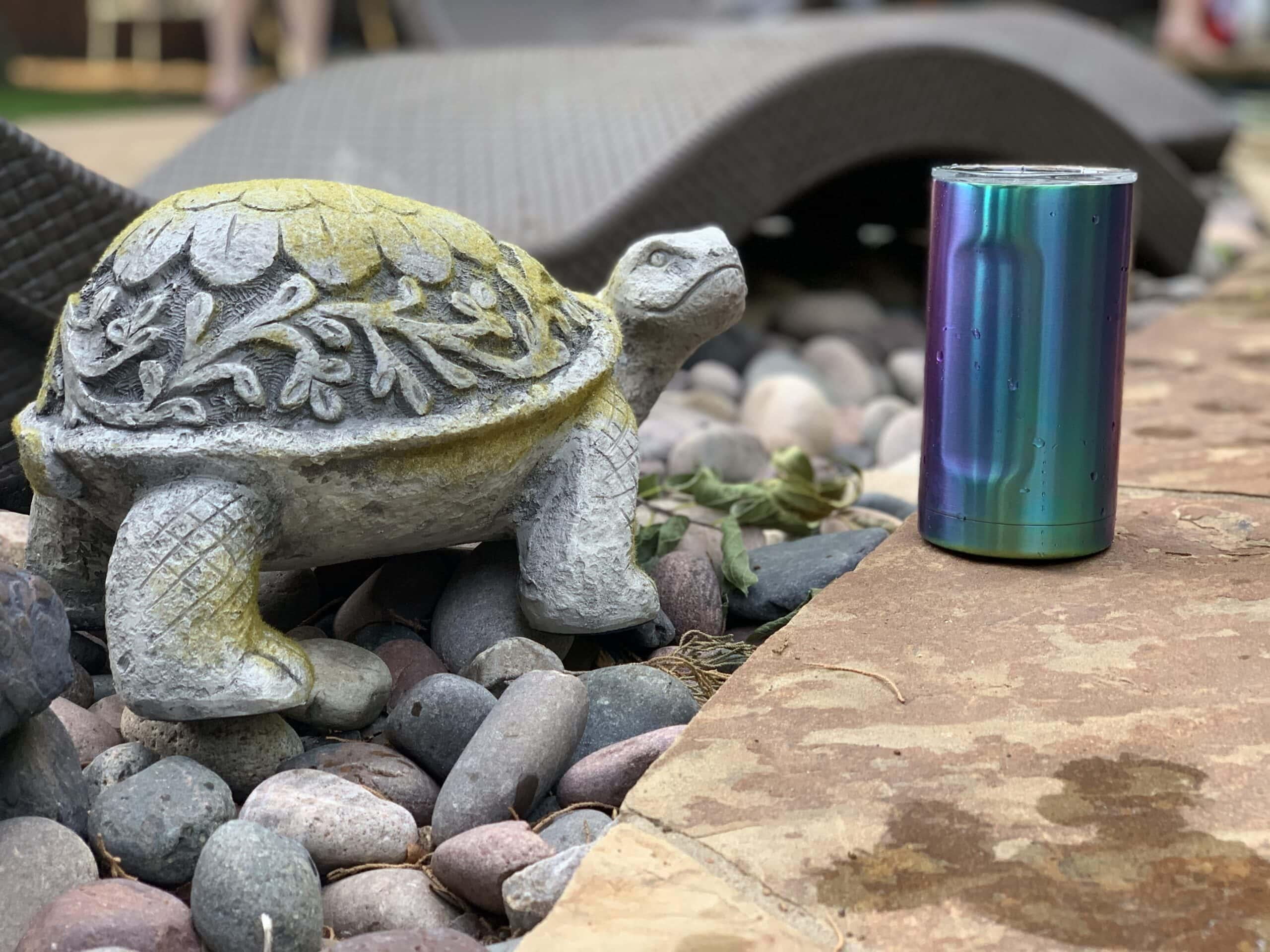 Cement turtle with cup