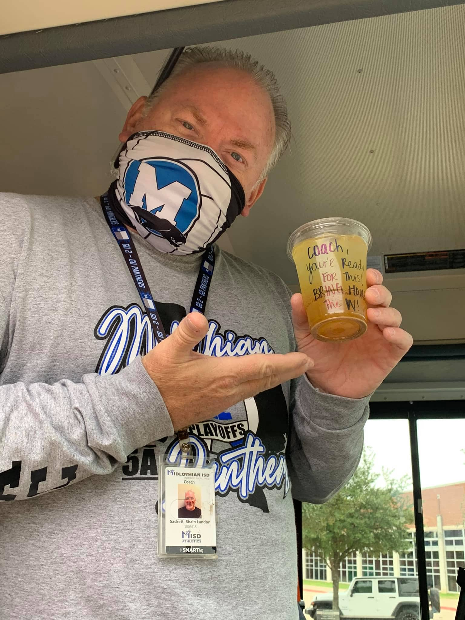 Coach Sackett with face mask
