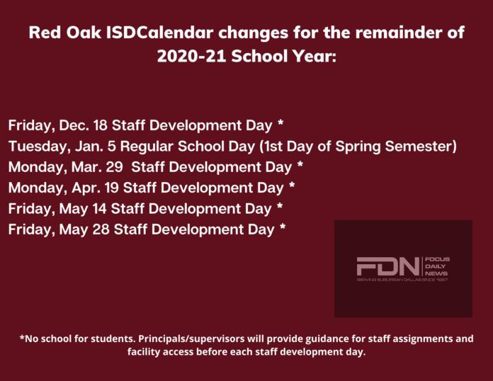 Red Oak ISD 2020 Calendar