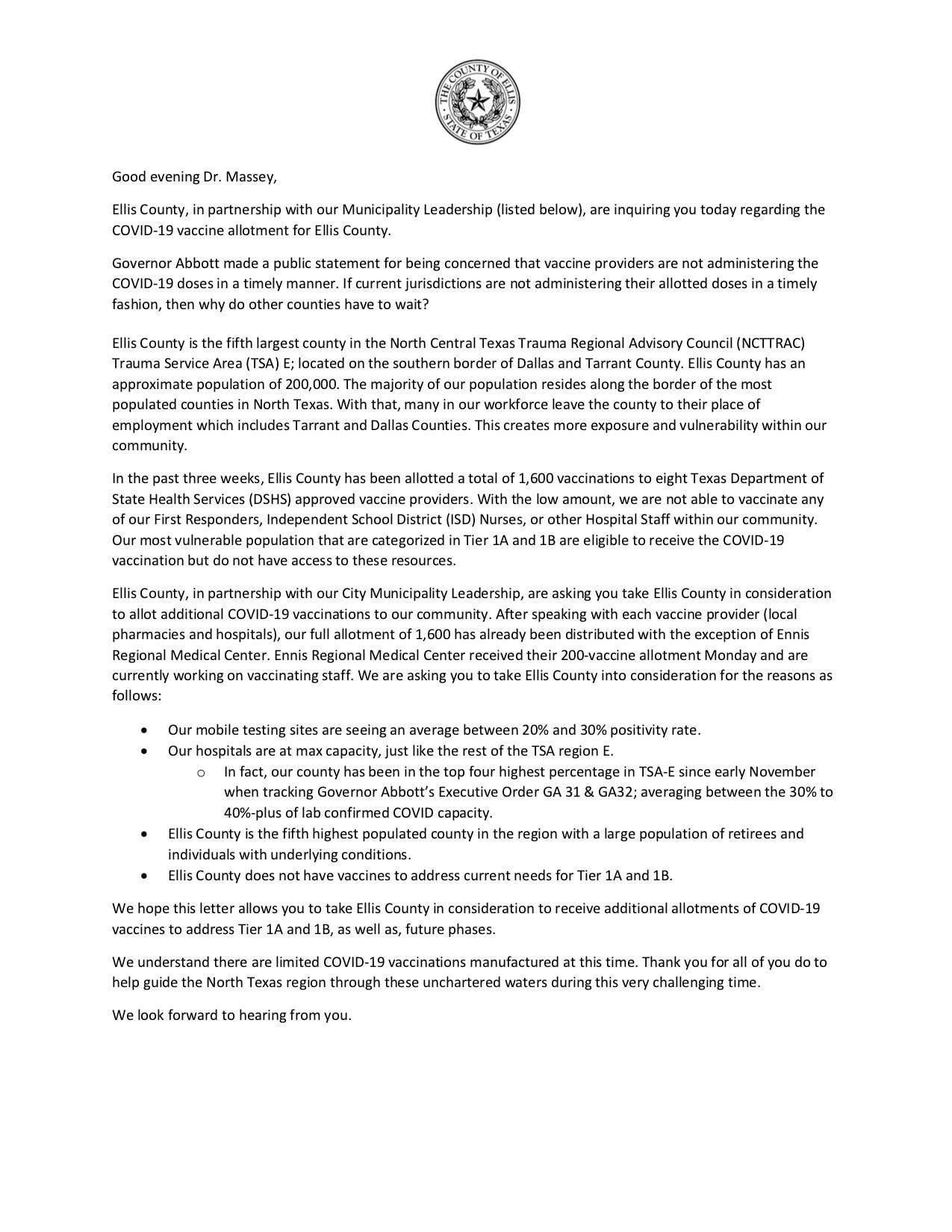 Ellis County letter vaccine