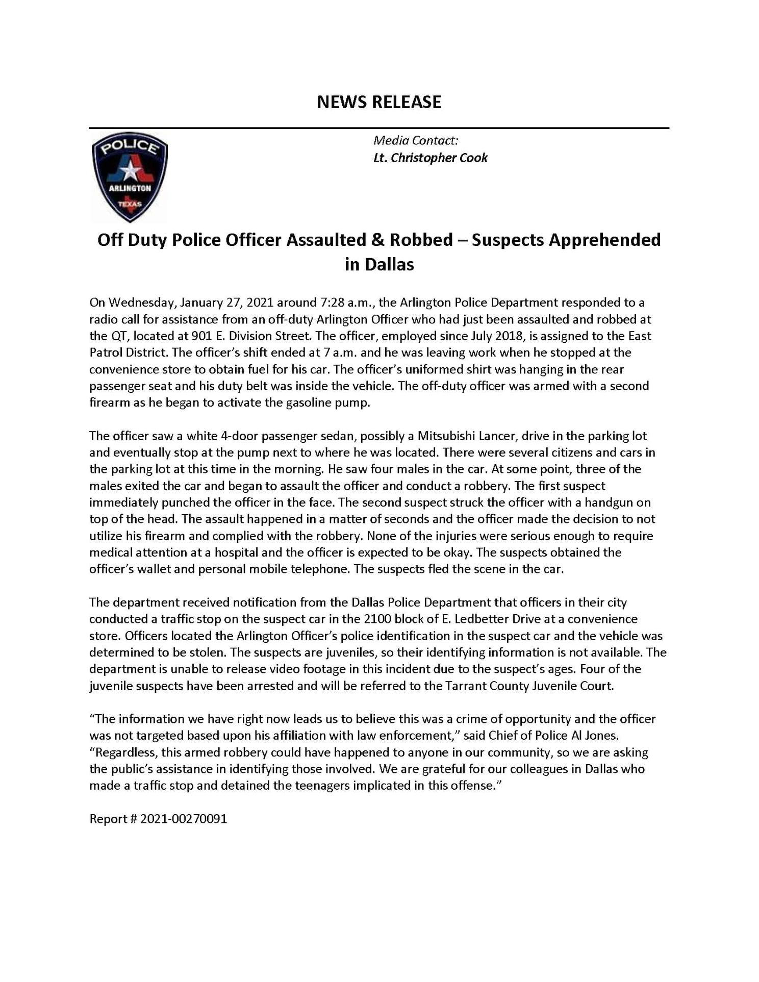 Arlington press release