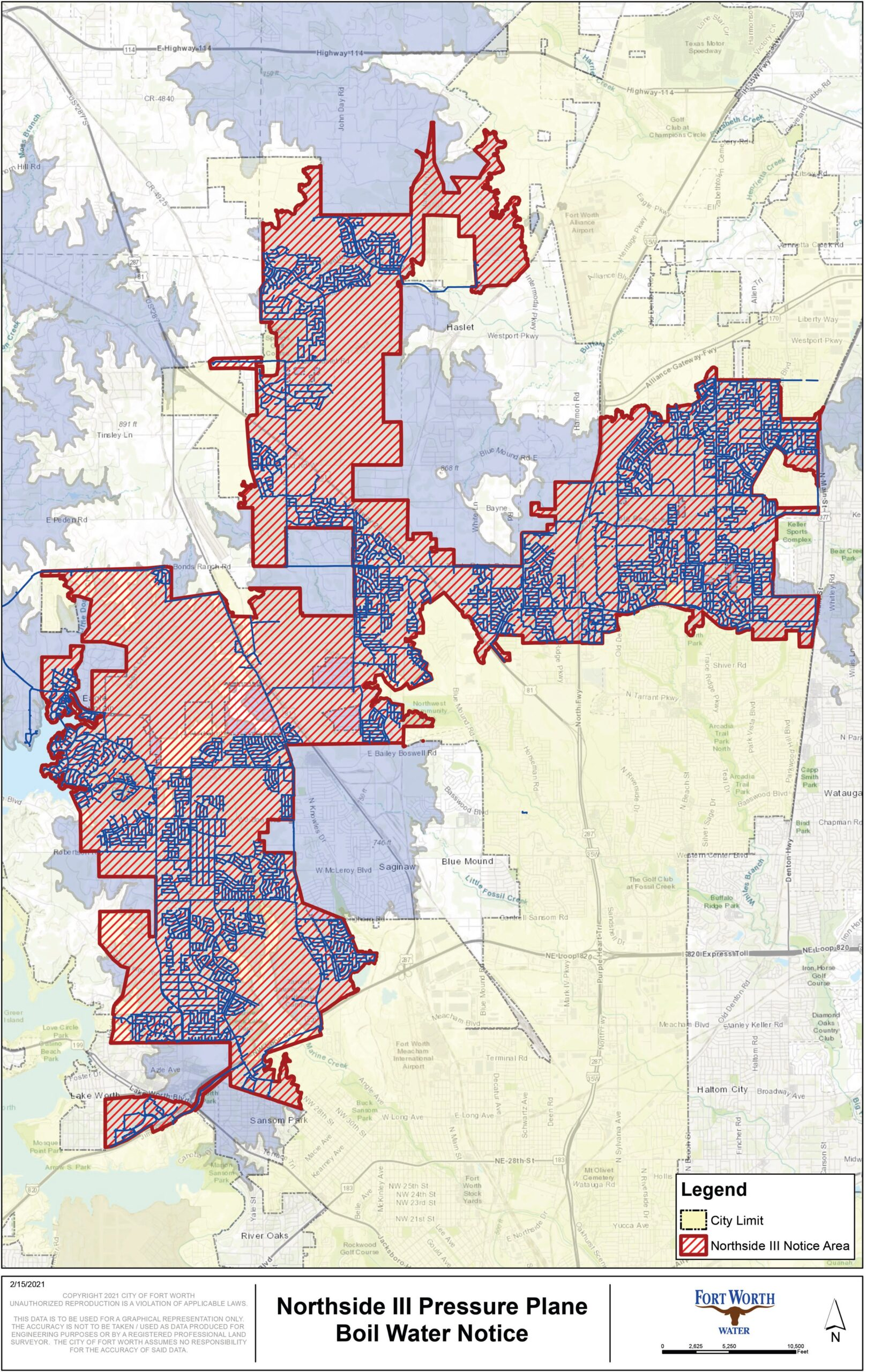Ft Worth boil water map