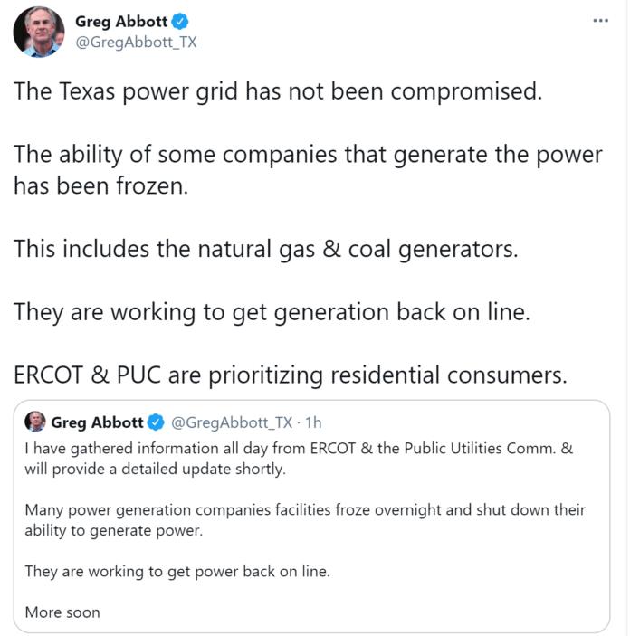 Abbott Tweet on Power