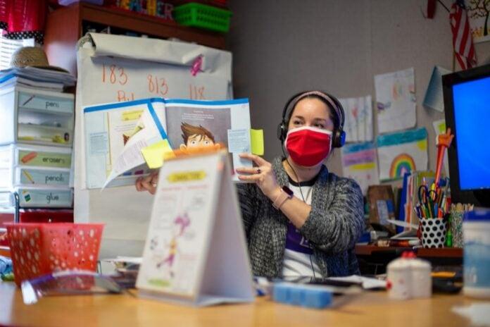 Teacher wearing a mask