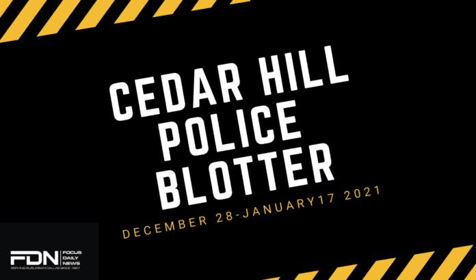 Cedar Hill Police blotter
