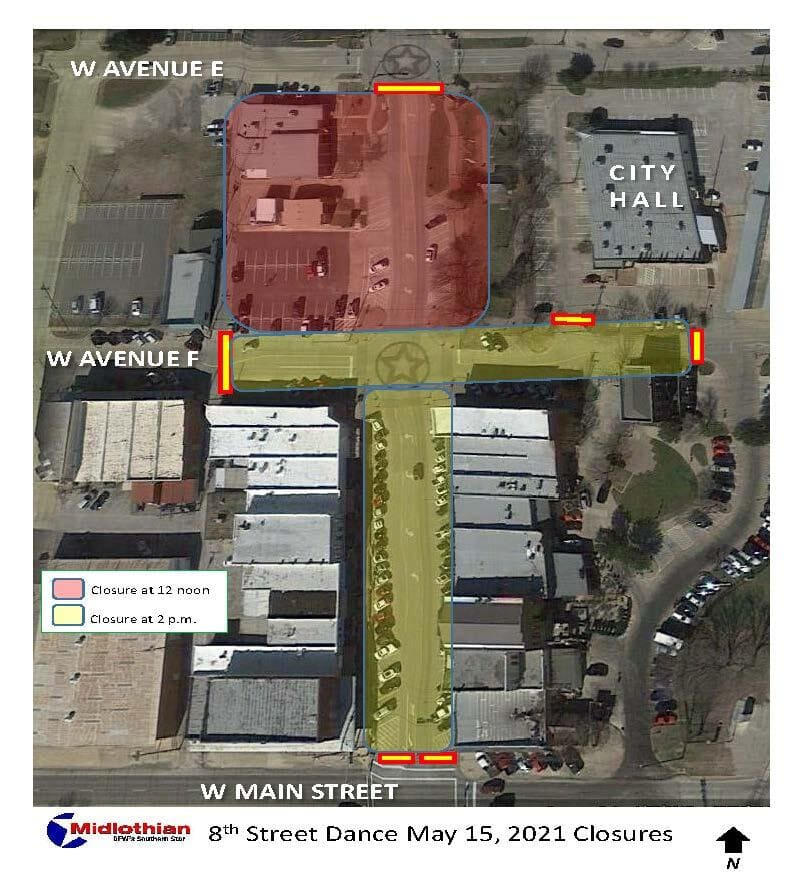 map of road closures downtown Midlothian