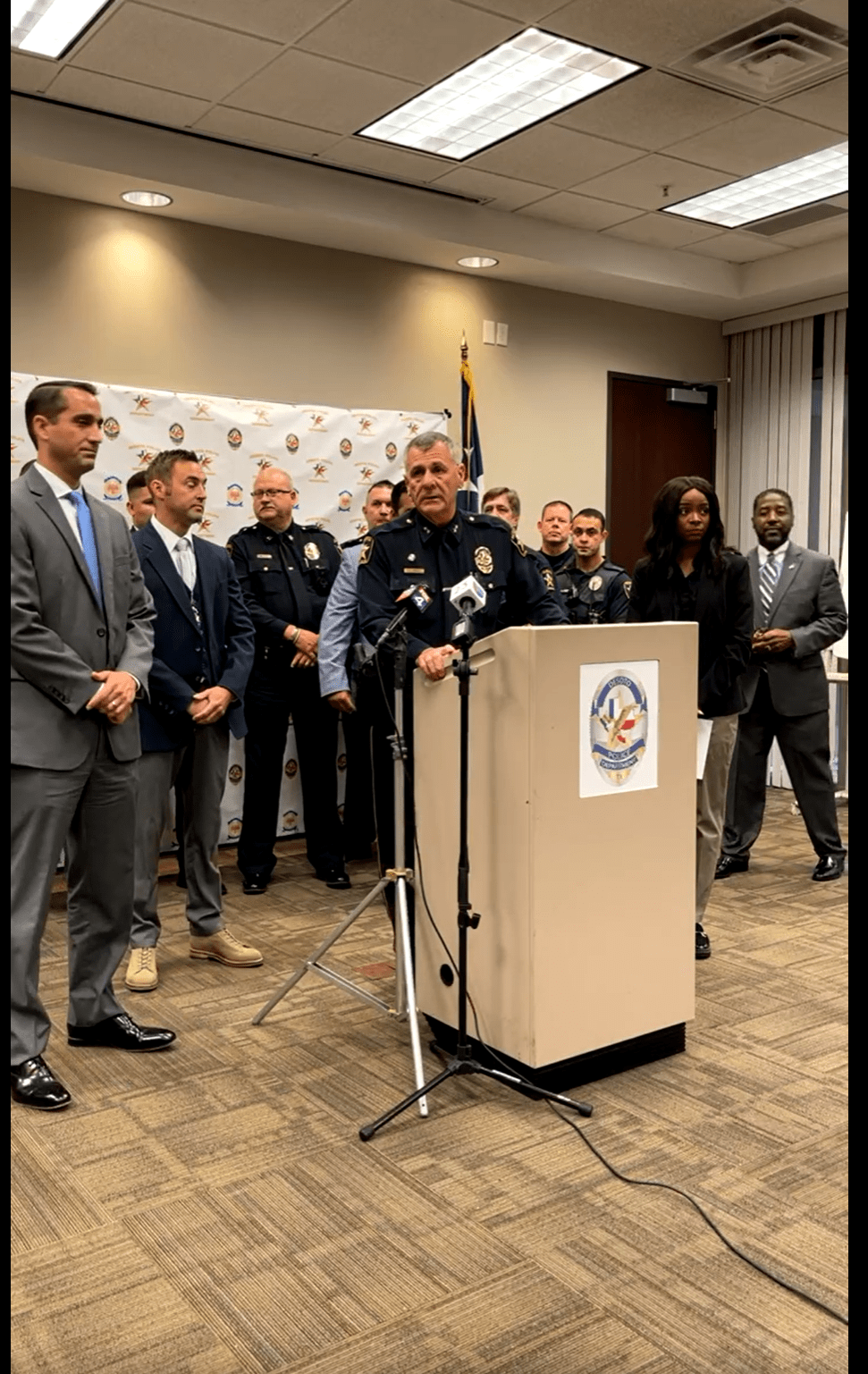 DeSoto Police at press conference podium