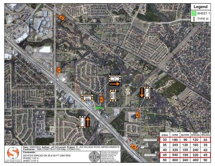 Cedar Hill street closure map