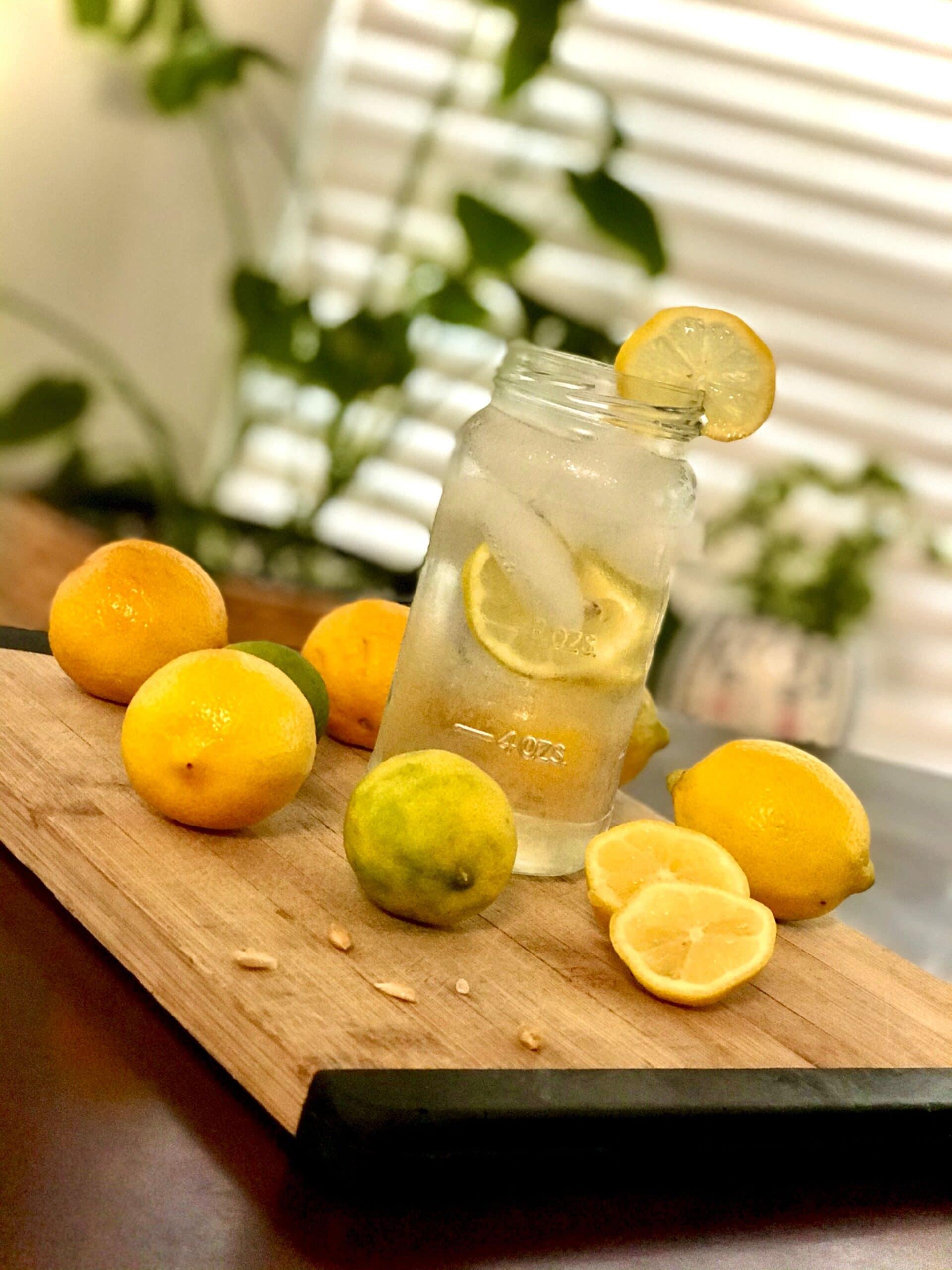 lemons and glass of water