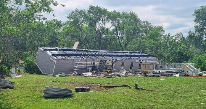 overturned mobile home