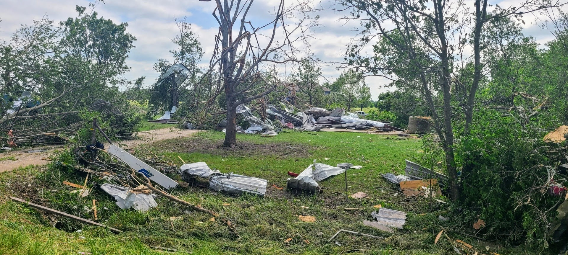 Storm damage from EF2 tornado in Ellis County