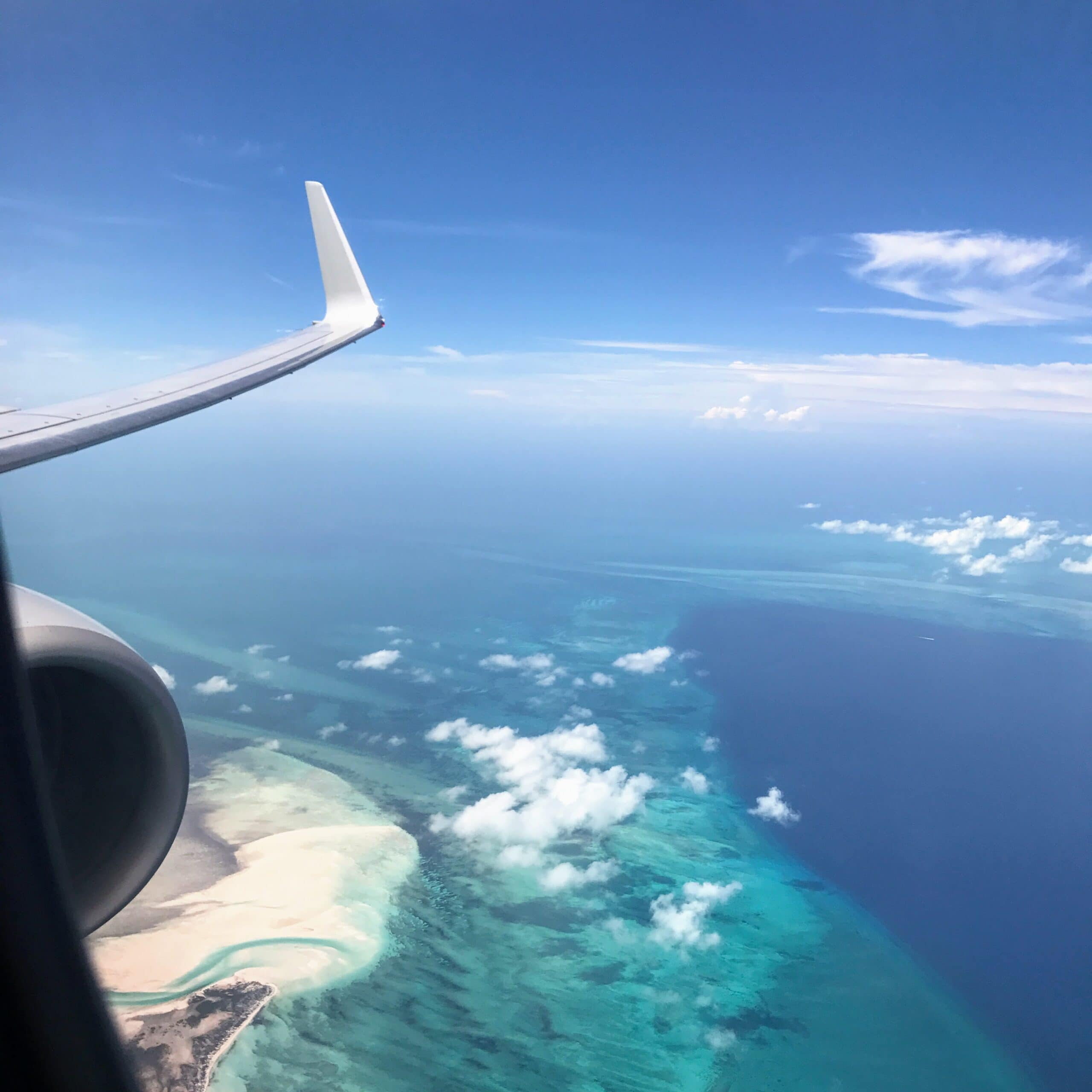 airplane above Turks and Caicos