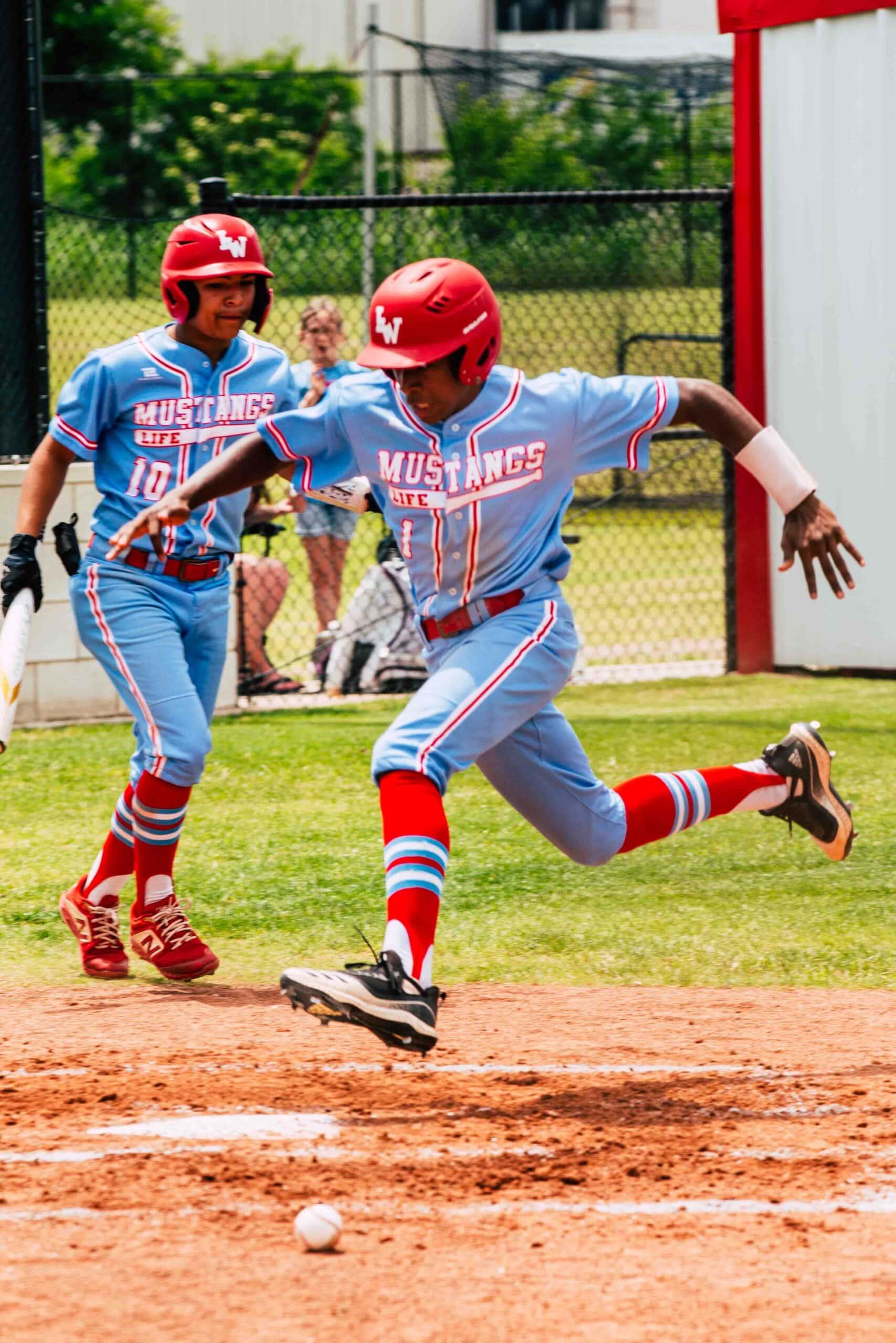 Baseball player running midstride