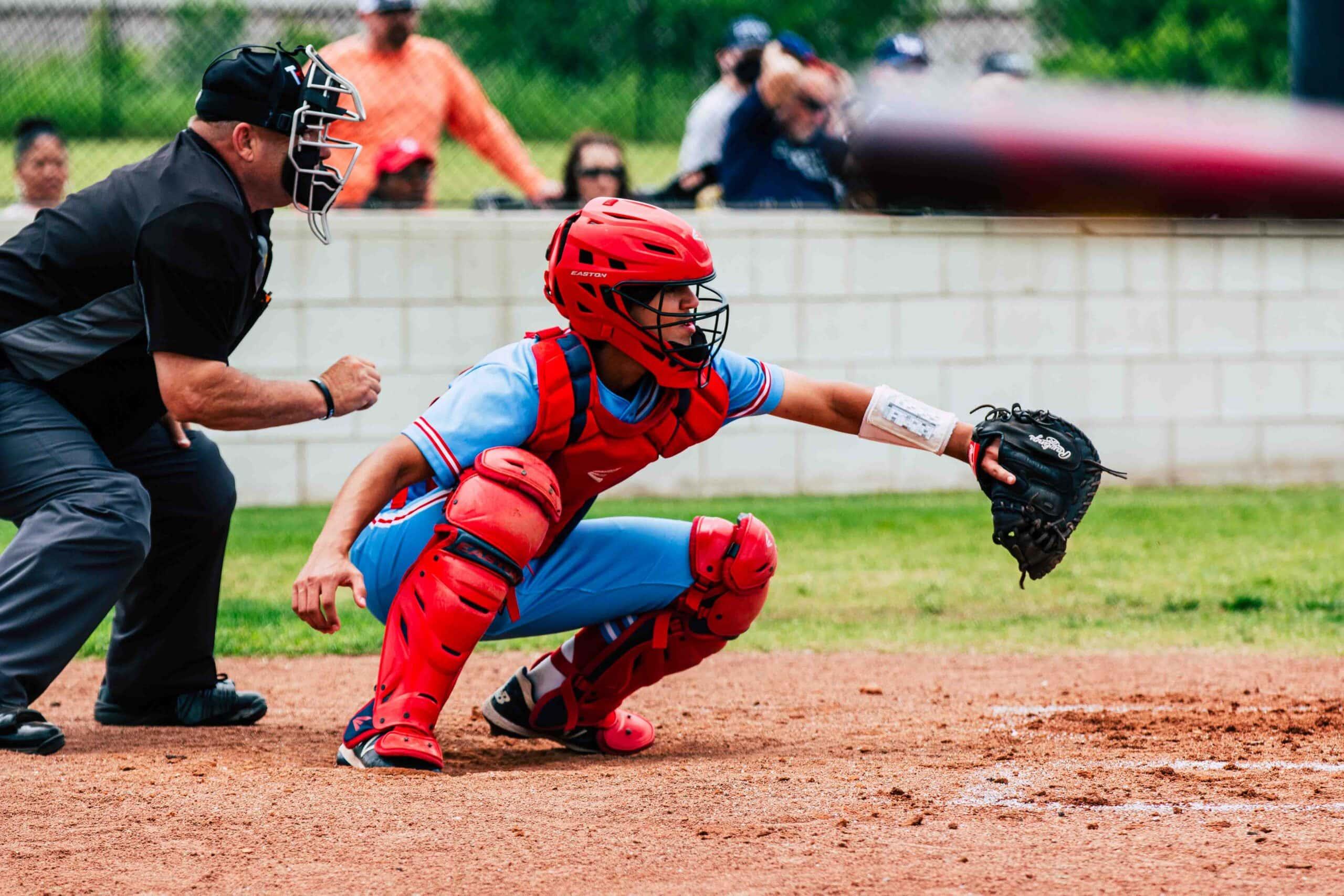 Baseball catcher over homeplate