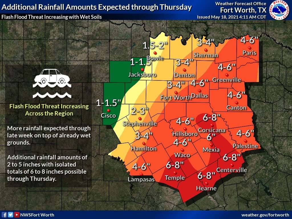 Rain total forecast for May 18