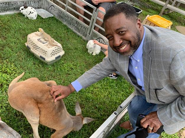 Andre Byrd with kangaroo