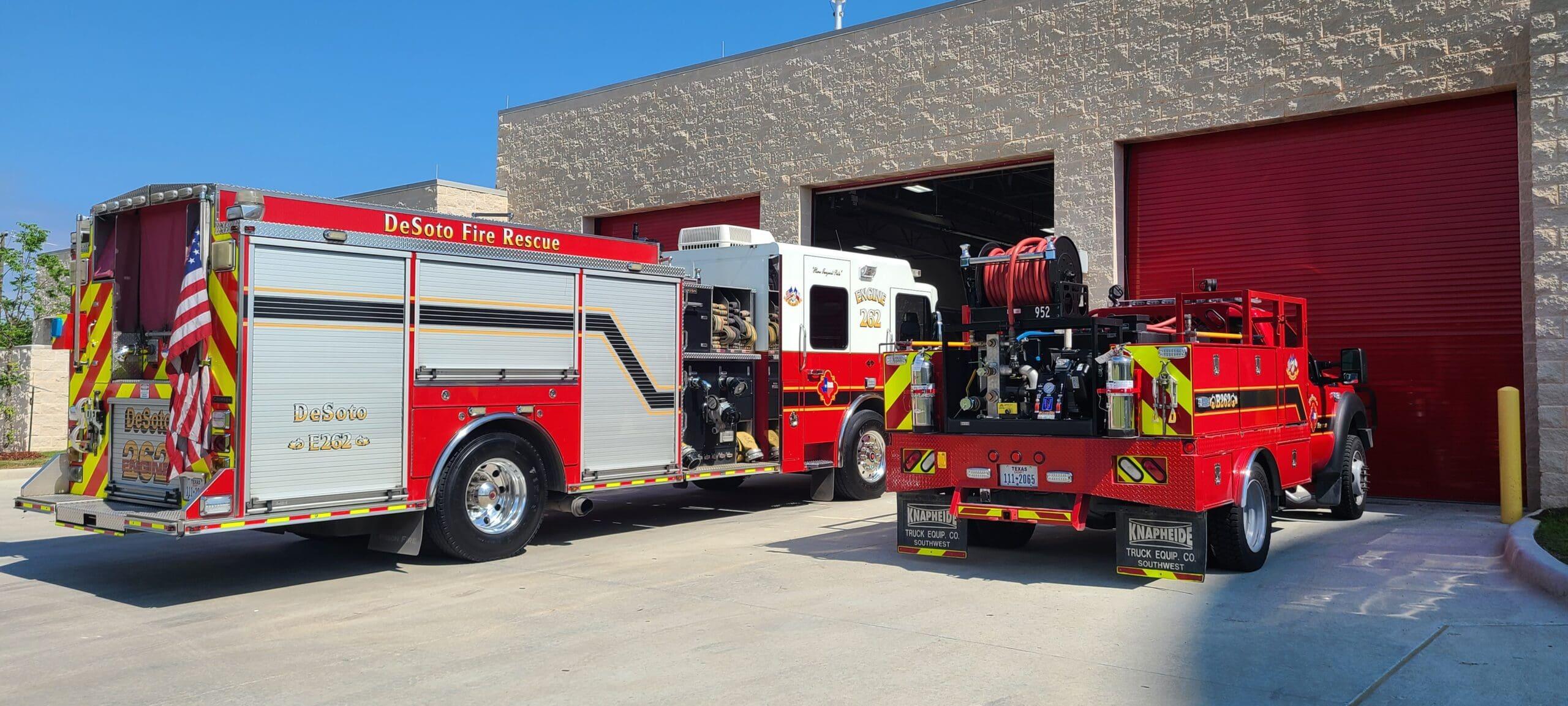 Trucks at DeSoto fire station