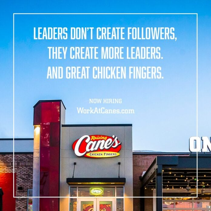 Raising Cane's building with text