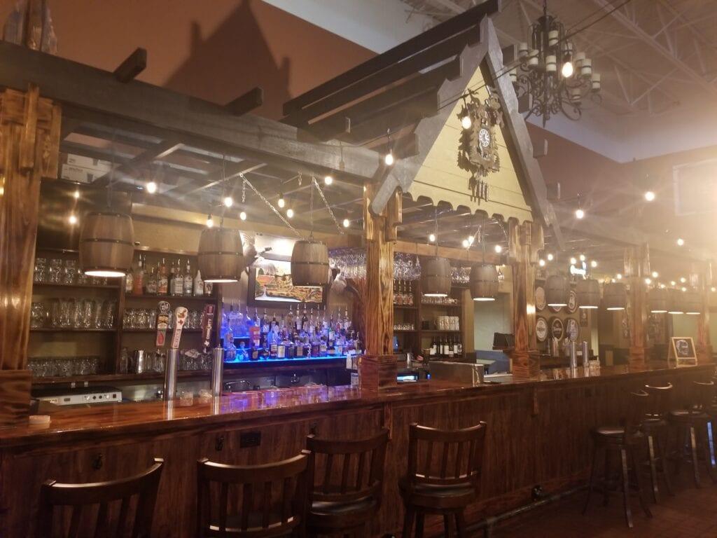 bar with barstools