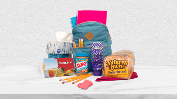 school supplies and food