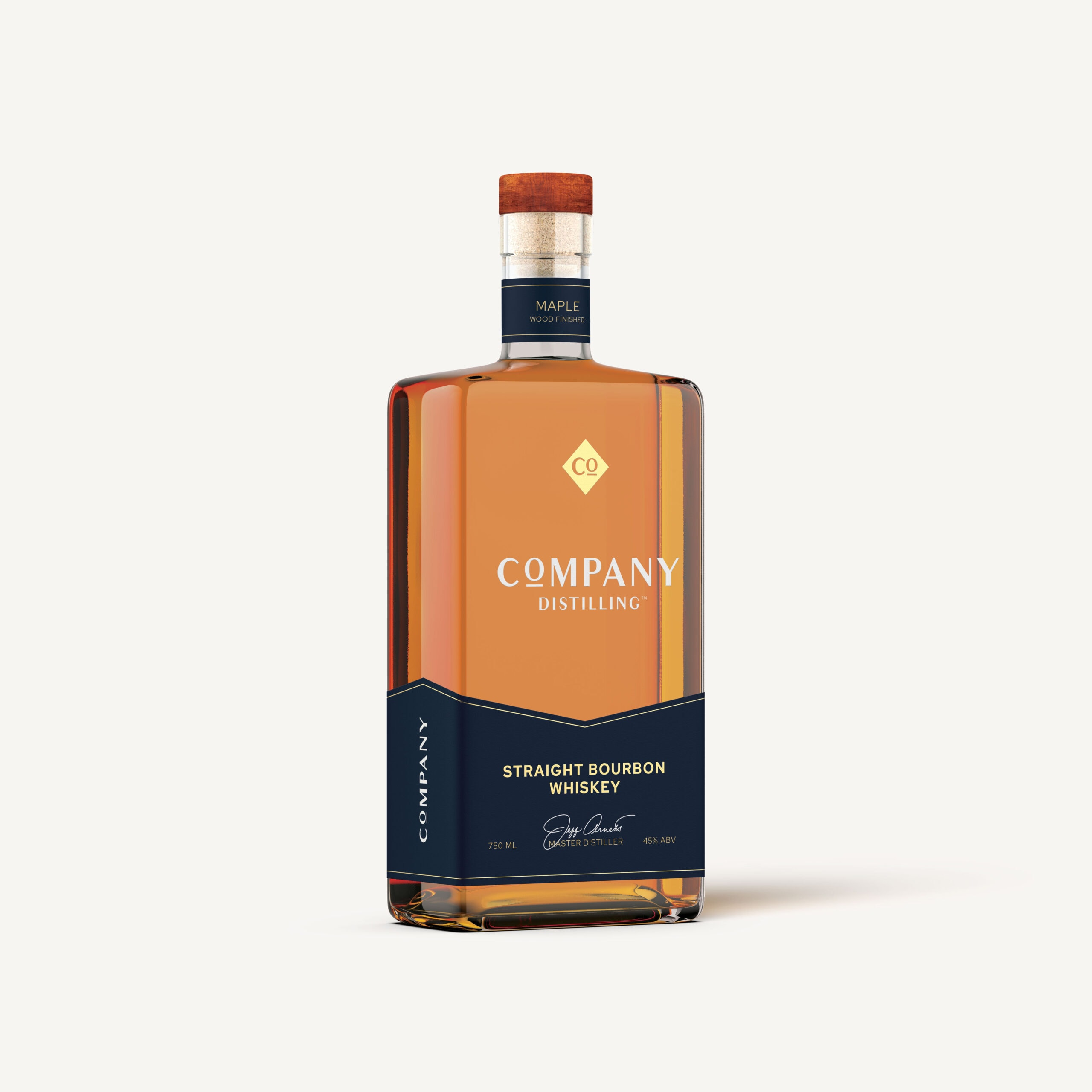 Company distilling bourbon bottle