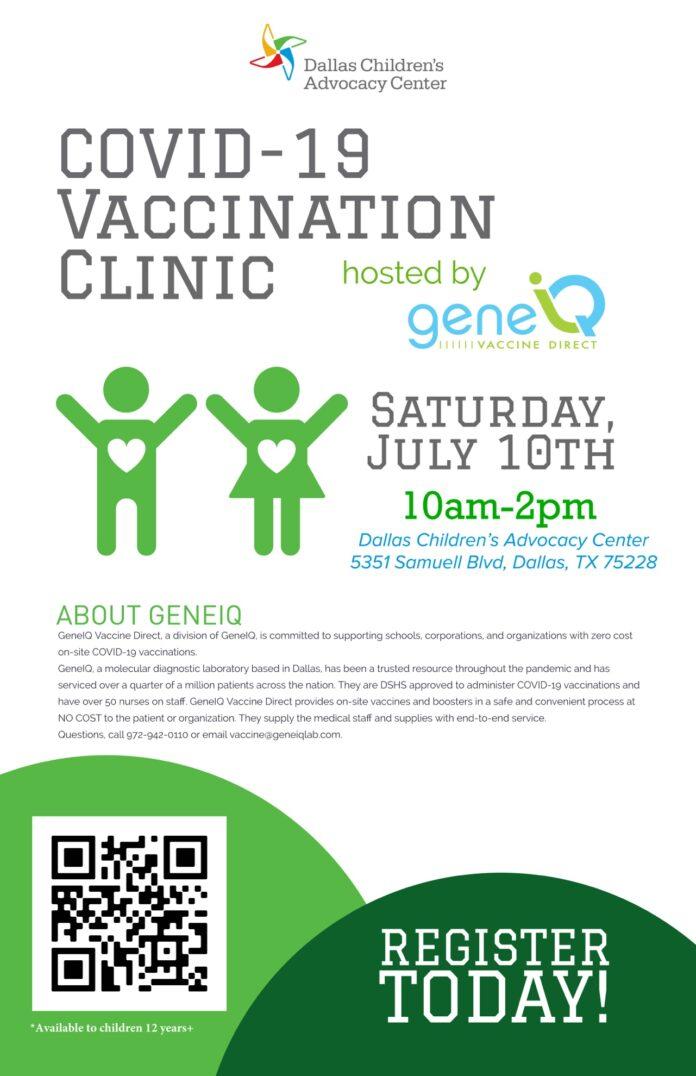 Dallas Children's Advocacy Center offers free Covid vaccinations July 10