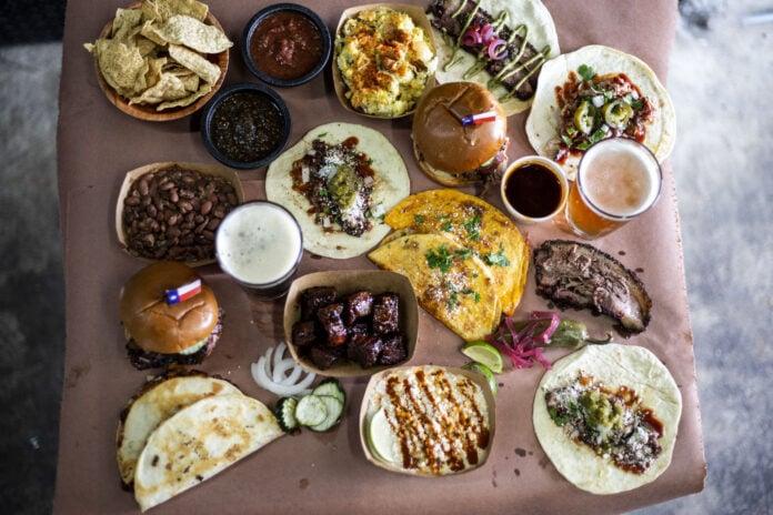 brisket tacos and sides