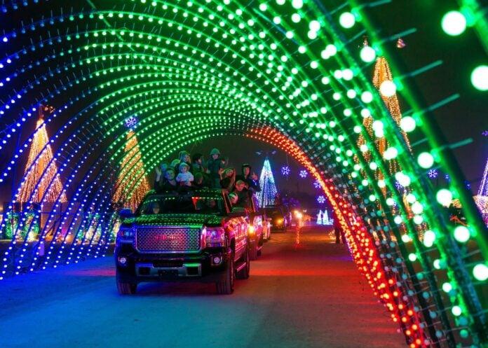 car under holiday light