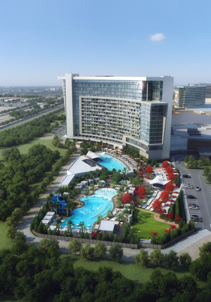 Choctaw Resort exterior with pool view
