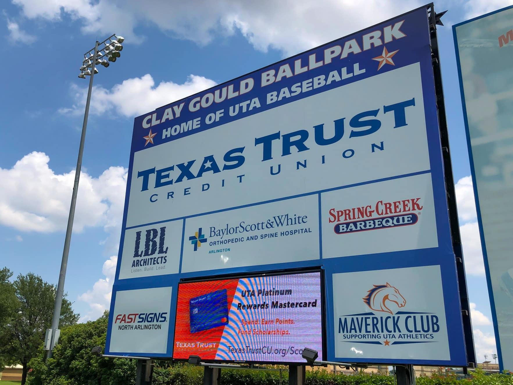 UTA Clay Gould Ballpark sign