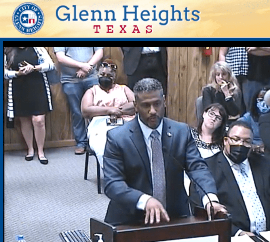 David Hall at Glenn Heights Council meeting