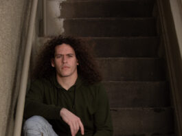 Kolton Pierce on stairs