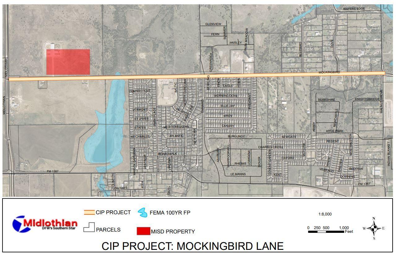 Mockingbird Lane road improvement map