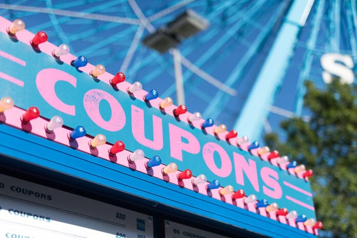 coupons sign at State Fair