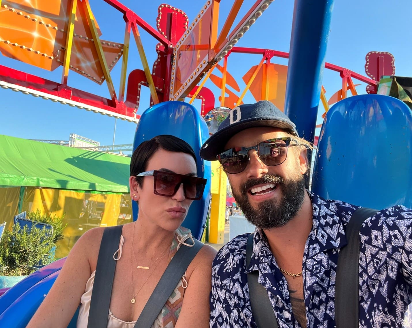 lady and man on theme park ride