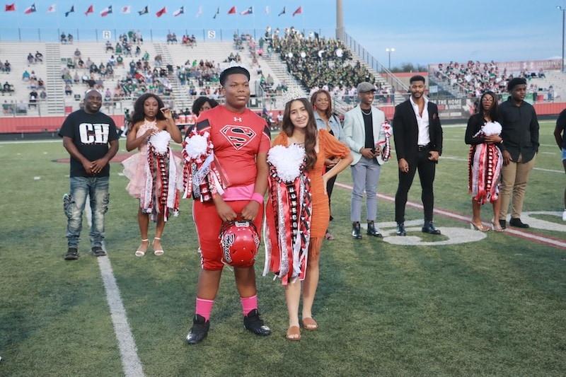 Cedar Hill football player with hoco queen