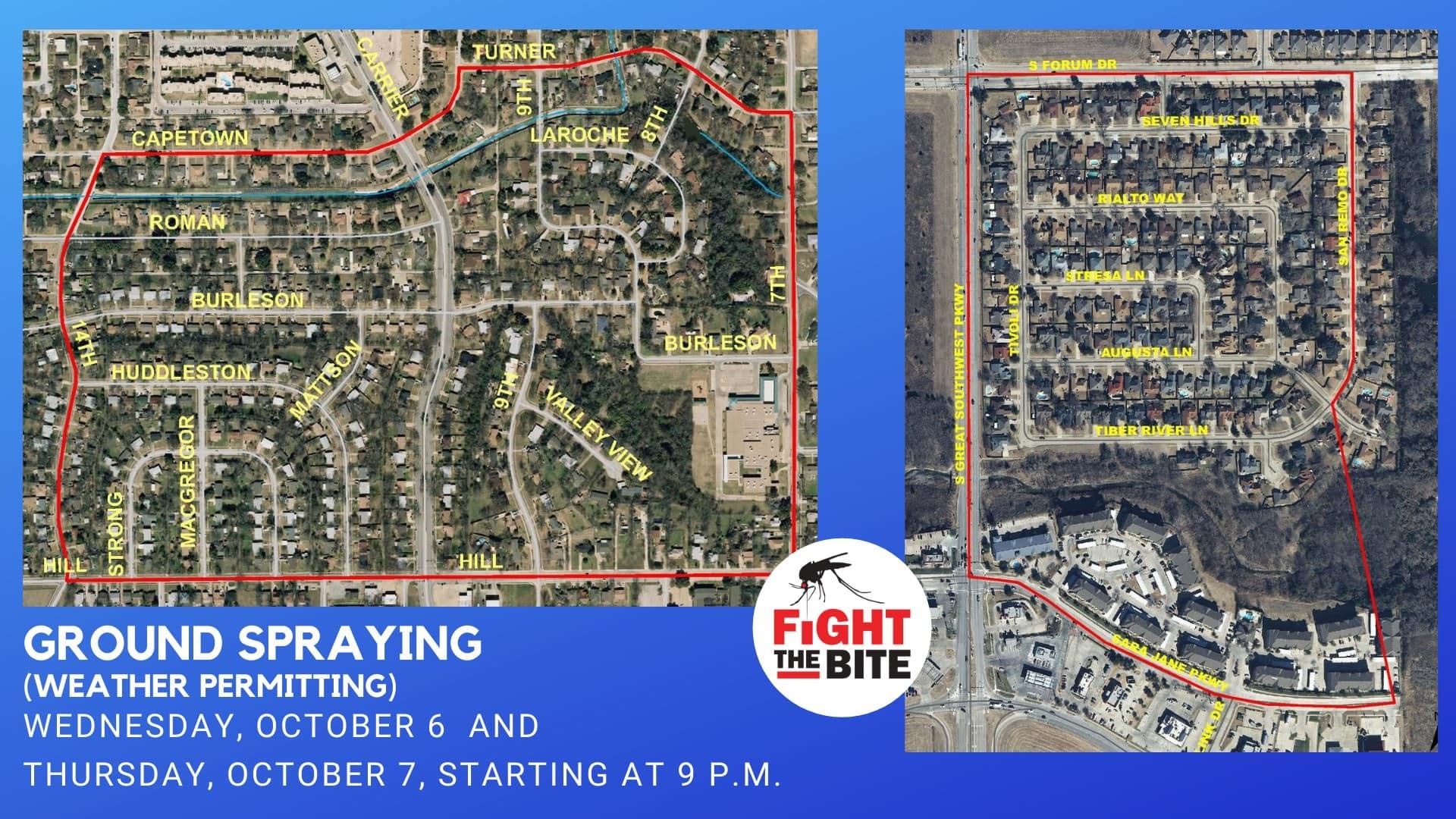 Grand Prairie spraying map