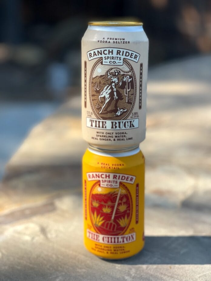 two cans of Ranch Rider Spirits
