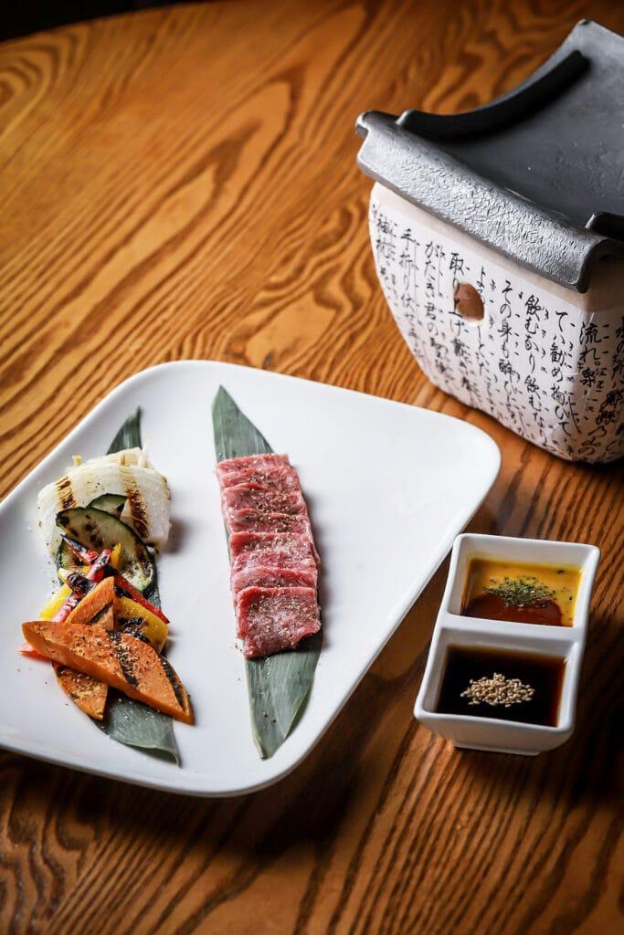 sushi on plate at Nobu Dallas