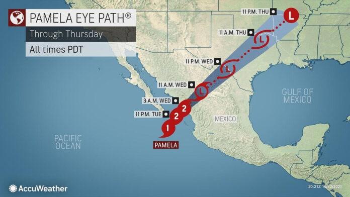 Pamela storm path map
